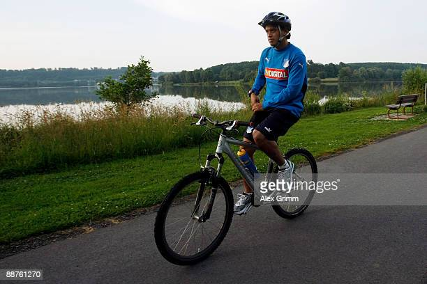 Carlos Eduardo drives his bicycle during a training camp of 1899 Hoffenheim on June 30, 2009 in Stahlhofen am Wiesensee, Germany.