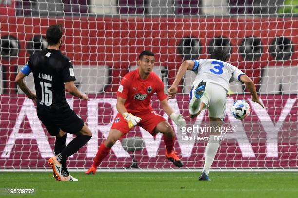 Carlos Eduardo of Al Hilal SFC scores his team's first goal past Luis Cardenas of CF Monterrey during the FIFA Club World Cup Qatar 2019 3rd place...