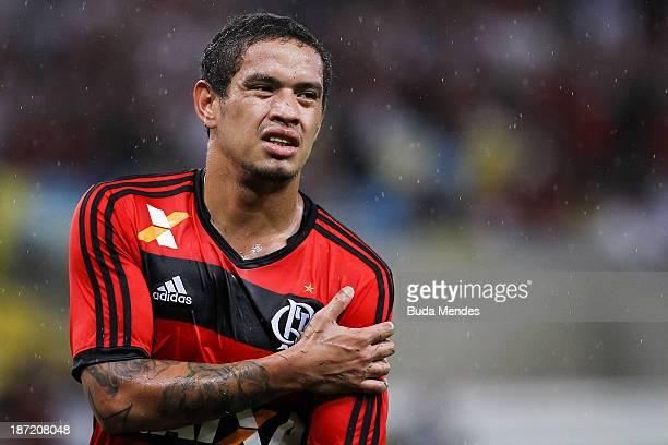 Carlos Eduardo of Flamengo reacts during a match between Flamengo and Goias as part of Brazilian Cup 2013 Semifinal at Maracana Stadium on November...