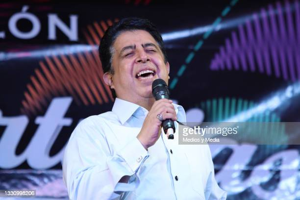 Carlos Eduardo Rico performs on stage during the Quien Los Q'uiere a Ellos 16th anniversary celebration event on July 27, 2021 in Mexico City, Mexico.