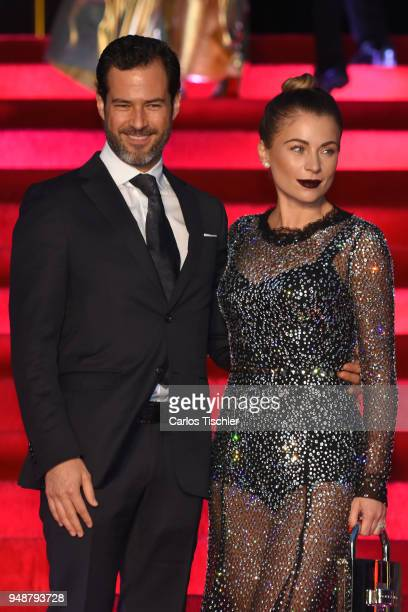 Carlos Emiliano Salinas and Ludwika Paleta pose prior the Dolce Gabbana Alta Moda and Alta Sartoria collections fashion show at Soumaya Museum on...