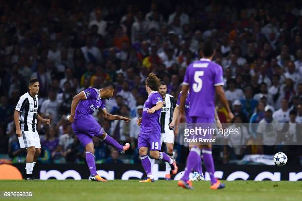Carlos Enrique Casimiro of Real Madrid CF scores his team's second goal during the UEFA Champions League Final between Juventus and Real Madrid at...