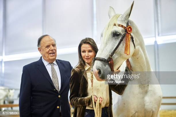 Carlos Falco and Esther Dona attends a guide tour inside the stables prior to the SICAB Closing Gala 2017 on November 18 2017 in Seville Spain