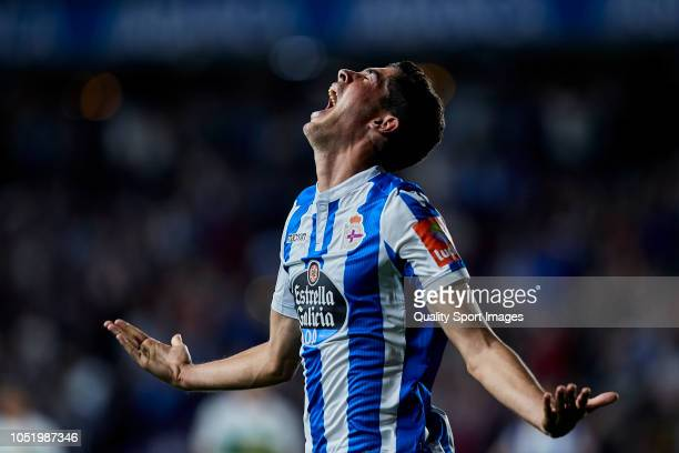 Carlos Fernandez of Deportivo de La Coruna celebrates after scoring his second goal during the La Liga 123 match between Deportigo de La Coruna and...