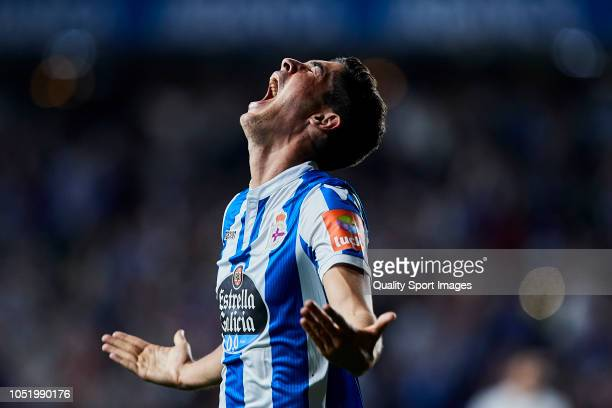 Carlos Fernandez of Deportivo de La Coruna celebrates after scoring his second goal during the La Liga 123 match between Deportigo de La Coruna and...