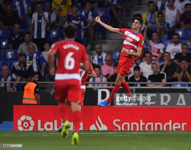 Carlos Fernandez of Granada celebrates after scoring his team's second goal during the La Liga match between RCD Espanyol and Granada CF at RCDE...