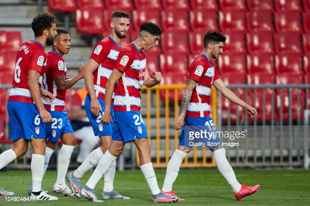 Carlos Fernandez of Granada CF celebrates scoring his team's goal during the Liga match between Granada CF and Getafe CF at Nuevo Los Carmenes...