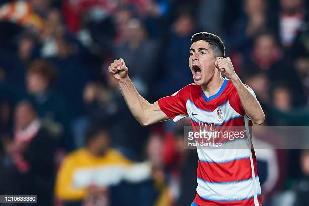 Carlos Fernandez of Granada CF celebrates scoring his team's opening goal during the Copa del Rey semi-final 2nd leg match between Granada CF and...