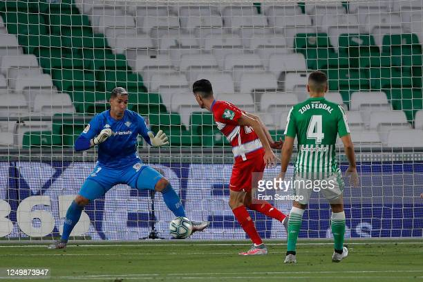 Carlos Fernandez of Grenada scores to make it 1-0 during the Liga match between Real Betis Balompie and Granada CF at Estadio Benito Villamarin on...