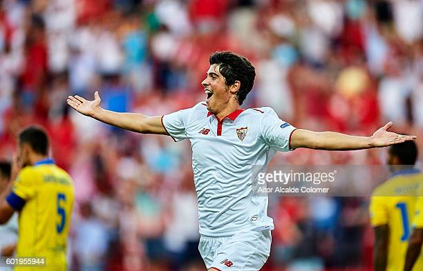 Carlos Fernandez of Sevilla FC celebrates after scoring during the match between Sevilla FC vs UD Las Palmas as part of La Liga at Estadio Ramon...