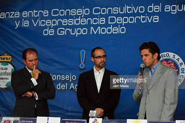 Carlos Fernandez President of Grupo Modelo Eduardo Vazquez Principal of Water Advisory Council and Alejandro Irarragorri President of Santos Laguna...