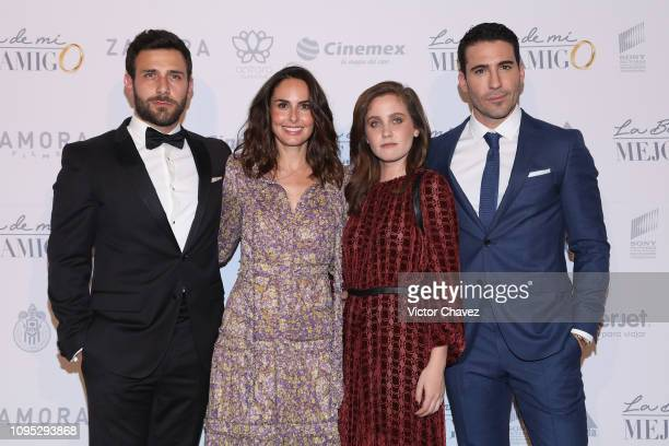 Carlos Ferro Ana Serradilla Natasha Dupeyron and Miguel Angel Silvestre attend 'La Boda de Mi Mejor Amigo' red carpet at Cinemex Antara Polanco on...