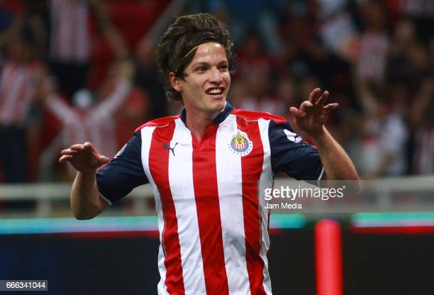 Carlos Fierro of Chivas celebrates after scoring his team's winning goal during the 13th round match between Chivas and Puebla as part of the Torneo...