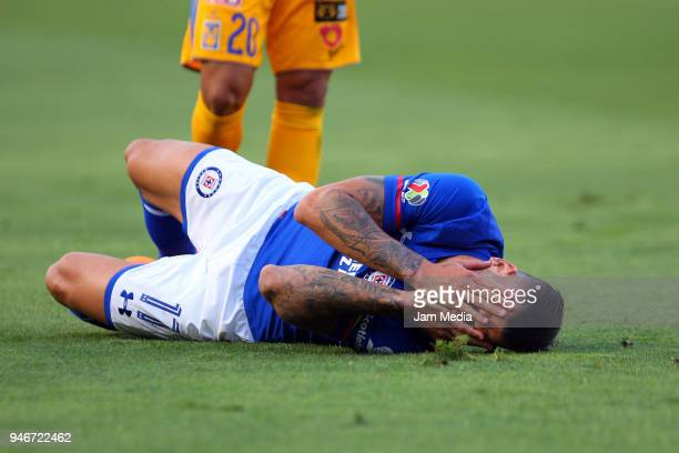 Carlos Fierro of Cruz Azul lies on the grass during the 15th round match between Tigres UANL and Cruz Azul as part of the Torneo Clausura 2018 Liga...
