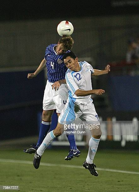 Carlos Figueroa of the Guatemala and Jonathan Spector of the USA vie for a header during their international friendly match on March 28 2007 at Pizza...