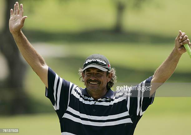 Carlos Franco makes a birdie on the 9th hole Wednesday's Pro-Am of the Movistar Panama Championship held at Club de Golf de Panama in Panama City,...
