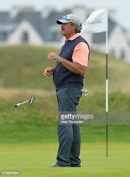 Carlos Franco of Paraguay reacts after holing his putt at 14th for an eagle during the third day of The Senior Open Championship at Carnoustie Golf...