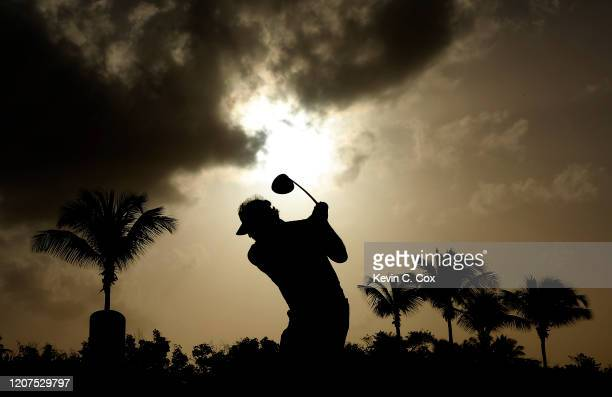 Carlos Franco of Paraguay warms up on the first tee during the first round of the Puerto Rico Open at Coco Beach Golf and Country Club on February 20...