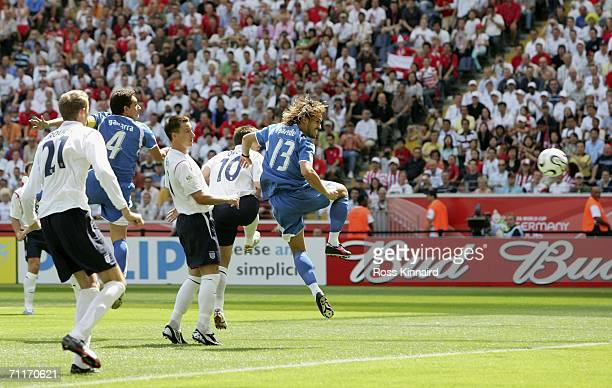 Carlos Gamarra of Paraguay scores an goal during the FIFA World Cup Germany 2006 Group B match between England and Paraguay at the Stadium Frankfurt...