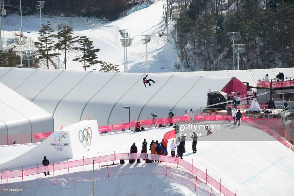 Carlos Garcia Knight, New Zeland, during the men's snowboard big air qualification practice at the Pyeongchang 2018 Winter Olympics on February 21st 2018, at the Alpensia Ski Jumping Centre in Pyeongchang-gun, South Korea