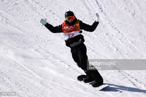 Carlos Garcia Knight of New Zealand celebrates during the Snowboard Men's Slopestyle Final on day two of the PyeongChang 2018 Winter Olympic Games at...