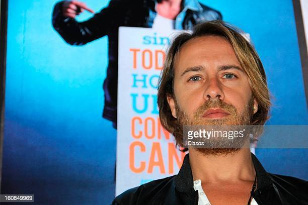 Carlos Gascon poses during a press conference as part of the Bolas de Fuego campaign at the University of Communication on February 6 2013 in Mexico...