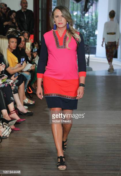 Carlos Gascon walks the runway during the Lydia Lavin fashion show at Mercedes Benz Fashion Week Mexico 2018 at Colonia Roma on October 11 2018 in...