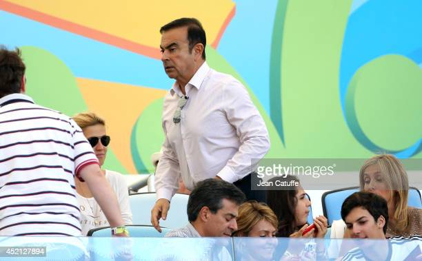 Carlos Ghosn and Carole Ghosn attend the 2014 FIFA World Cup Brazil Final match between Germany and Argentina at Estadio Maracana on July 13 2014 in...