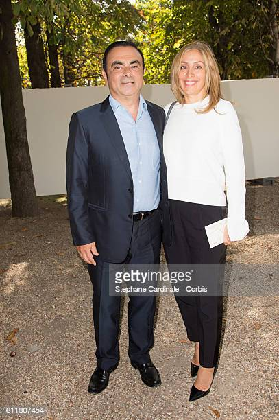 Carlos Ghosn and Carole Ghosn attend the Elie Saab show as part of the Paris Fashion Week Womenswear Spring/Summer 2017 on October 1 2016 in Paris...