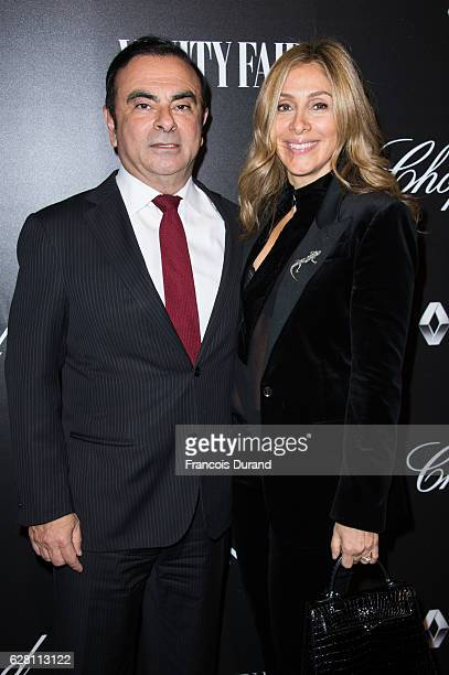 Carlos Ghosn and Carole Ghosn attend the Vanity Fair Dinner With Chopard In Honor To The Most 50 Influential French Personalities In The World at...
