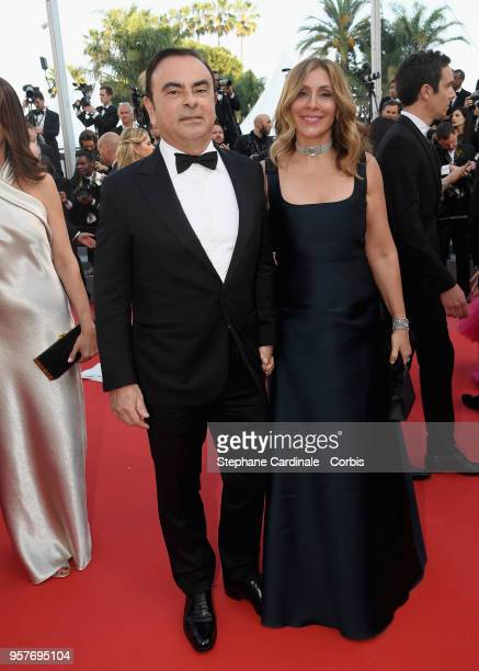 Carlos Ghosn and Caroline Ghosn attend the screening of Ash Is The Purest White during the 71st annual Cannes Film Festival at Palais des Festivals...