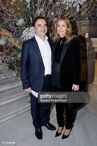 Carlos Ghosn and his wife Carole attend the Arop Charity Gala At the Opera Garnier under the auspices of Madam Maryvonne Pinault on March 9 2016 in...