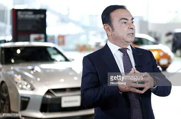 Carlos Ghosn chairman and chief executive officer of Nissan Motor Co and Renault SA and incoming chairman of Mitsubishi Motors Corp speaks during a...
