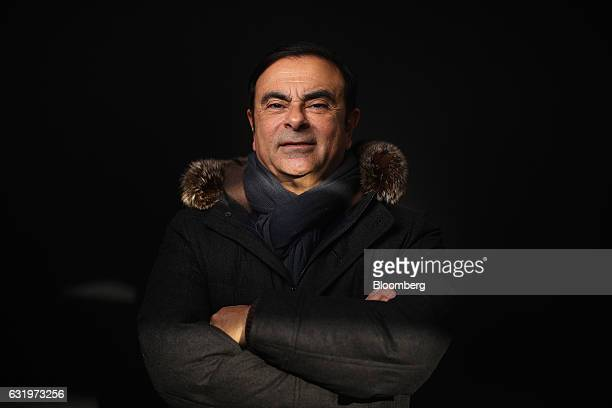 Carlos Ghosn chairman of Nissan Motor Co and chief executive officer of Renault SA poses for a photograph following a Bloomberg Television interview...