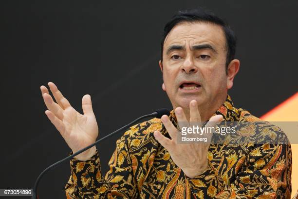 Carlos Ghosn chairman of Nissan Motor Co and Mitsubishi Motors Corp speaks during a news conference after inaugurating a Mitsubishi Motors plant in...