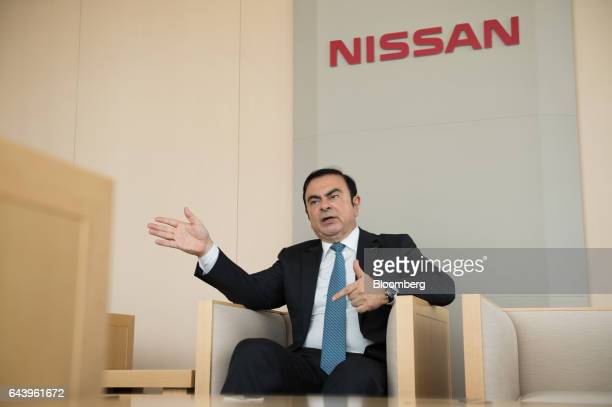 Carlos Ghosn chairman of Nissan Motor Co speaks during an interview in Yokohama Japan on Thursday Feb 23 2017 Ghosn handed over the daytoday running...