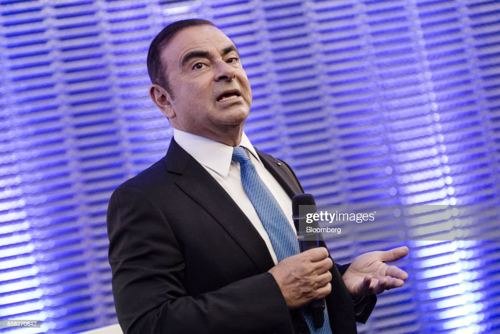 Carlos Ghosn, chairman of Renault SA, speaks during a news conference to announce the automaker's strategic plan in Paris, France, on Friday, Oct. 6, 2017. Renaultraised mid-term sales and earnings targets as part of the French carmakers plan to protect its leadership inbattery-powered autos and keep pace with rivals in driverless models. Photographer: Marlene Awaad/Bloomberg via Getty Images