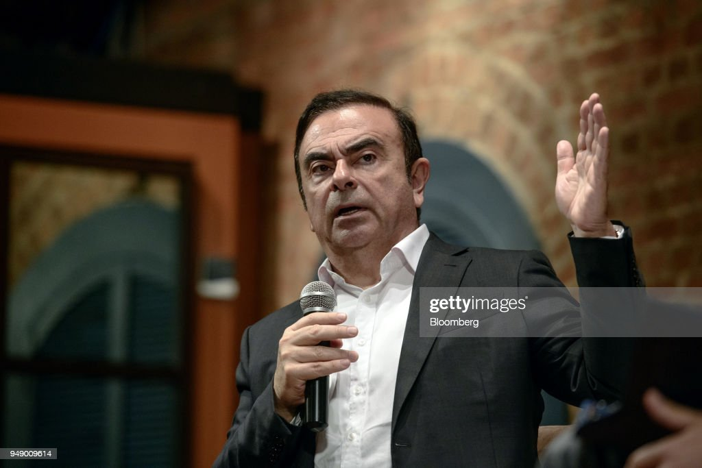 Renault-Nissan-Mitsubishi Alliance Chairman Carlos Ghosn Speaks At An Event