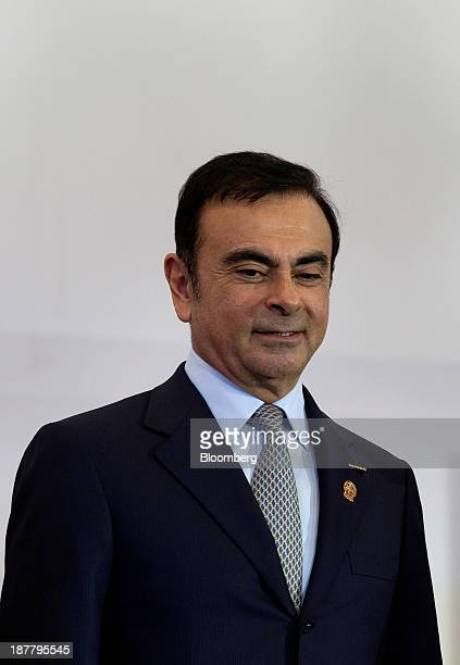Carlos Ghosn chief executive officer of Nissan Motor Co attends the opening ceremony for a new plant in Aguascalientes Mexico on Tuesday Nov 12 2013...