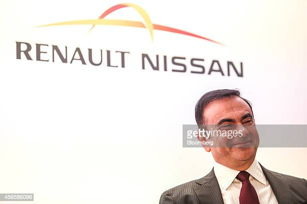 Carlos Ghosn chief executive officer of Nissan Motor Co reacts during a news conference at the Paris Motor Show in Paris France on Friday Oct 3 2014...