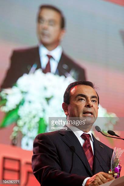 Carlos Ghosn chief executive officer of Nissan Motor Co speaks at the inauguration ceremony of Zhengzhou Nissan Automobile Co Ltd's second plant in...