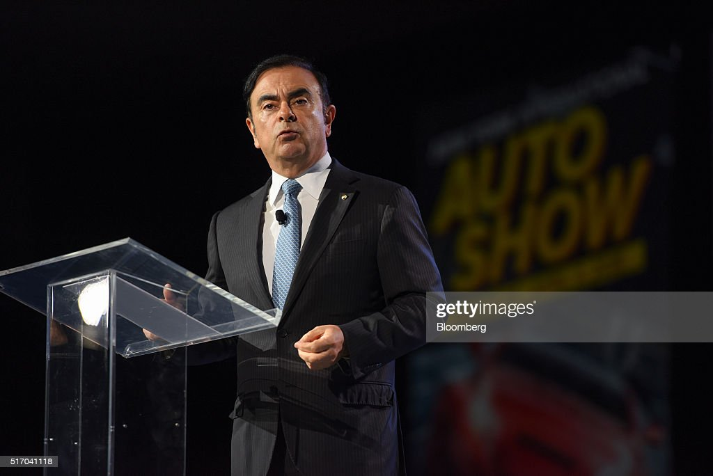 Carlos Ghosn, chief executive officer of Renault SA and Nissan Motor Co., speaks during the opening press breakfast of the 2016 New York International Auto Show in New York, U.S., on Wednesday, March 23, 2016. Nearly 1,000 cars and trucks will be on display at North America's first and largest-attended auto show. Photographer: Ron Antonelli/Bloomberg via Getty Images