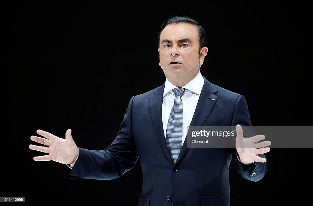 Carlos Ghosn, chief executive officer of Renault SA and Nissan Motor Co speaks on stage as he presents the new Nissan Micra automobile during the press day of the Paris Motor Show on September 29, 2016, in Paris, France. The Paris Motor Show will showcase the latest models from the auto industry's leading manufacturers at the Paris Expo exhibition centre.