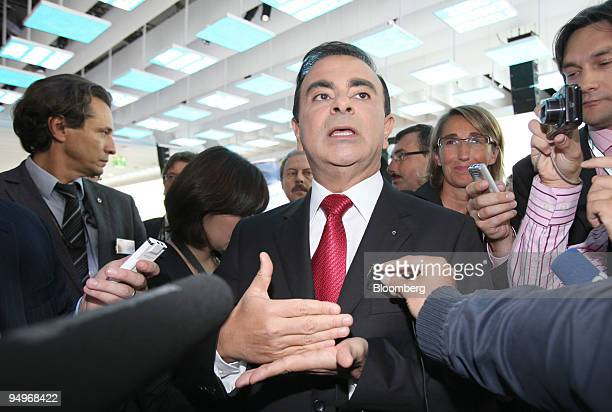 Carlos Ghosn chief executive officer of Renault speaks to journalists on the first press day of the Frankfurt Motor Show in Frankfurt Germany on...
