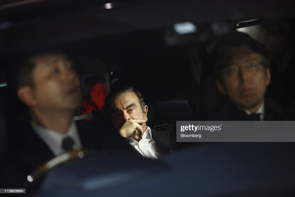 Carlos Ghosn Leaves Prison on Bail After 108 Days of Detention : News Photo