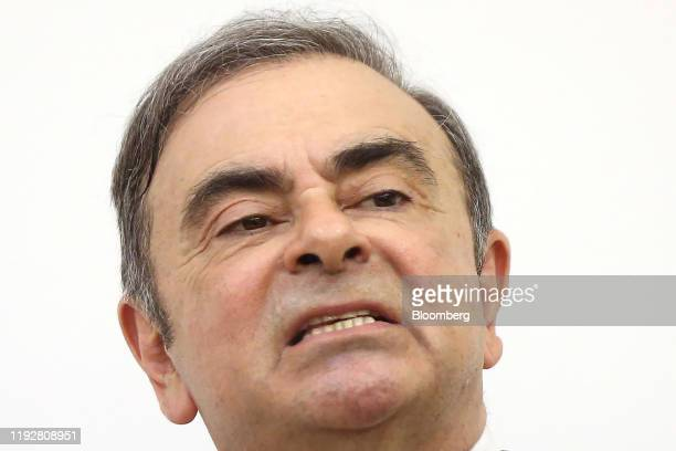 Carlos Ghosn former chief executive officer of Nissan Motor Co and Renault SA speaks to the media at the Lebanese Press Syndicate in Beirut Lebanon...