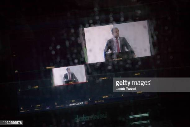 Carlos Ghosn is seen on a live feed outside the press syndicate where he delivered a press conference on January 8 2020 in Beirut Lebanon The former...