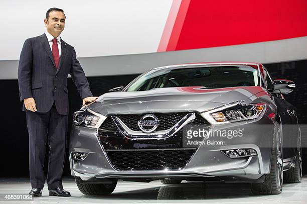 Carlos Ghosn President and CEO of Nissan Motor Co speaks at the unveiling of the 2016 Nissan Maxima at the New York International Auto Show on April...