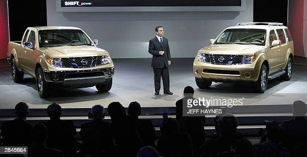 Carlos Ghosn President and CEO of Nissan Motor Company introduces the new 2005 Frontier and Pathfinder during the press days 05 January 04 at the...