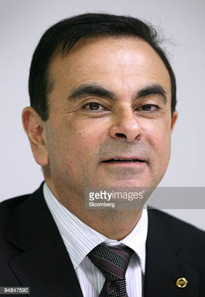 Carlos Ghosn president and chief executive officer Nissan Motor Co speaks at a news conference at Tan Chong Motor Assembly Plant in Selangor Malaysia...